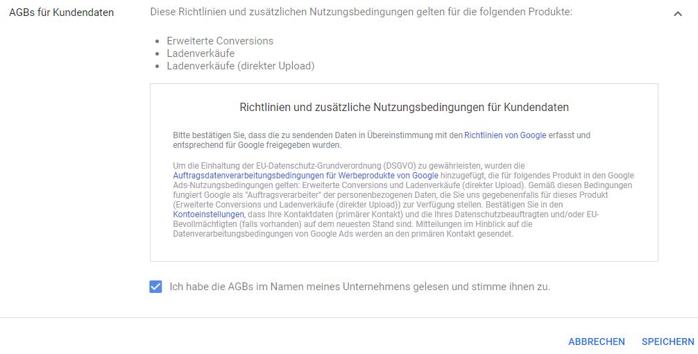 Kundendaten Verarbeitung in Google Ads