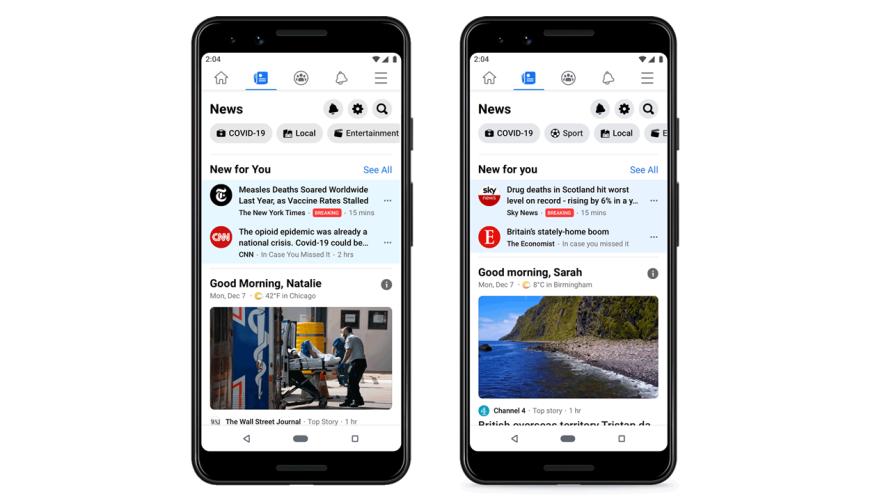 Facebook News wird auf einem Iphone geöfnet
