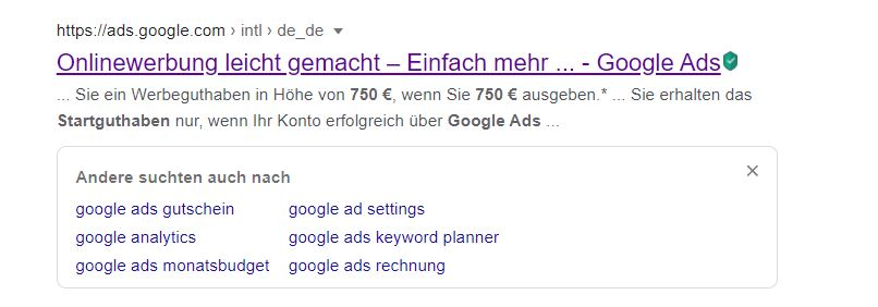 Im SEO-Text der Google Ads Startseite finden sich noch 750€ Werbeguthaben