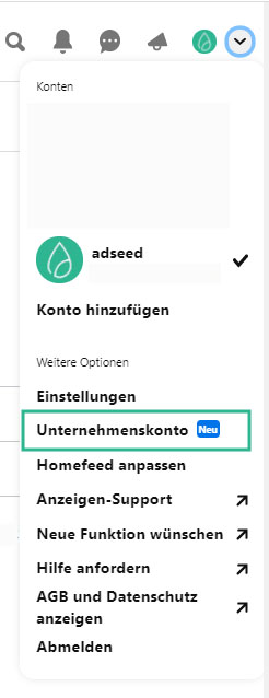 Pinterest Unternehmenskonto