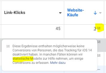 Warnung im Werbeanzeigenmanager von Facebook, dass mit der Modellierung von Conversions begonnen wird